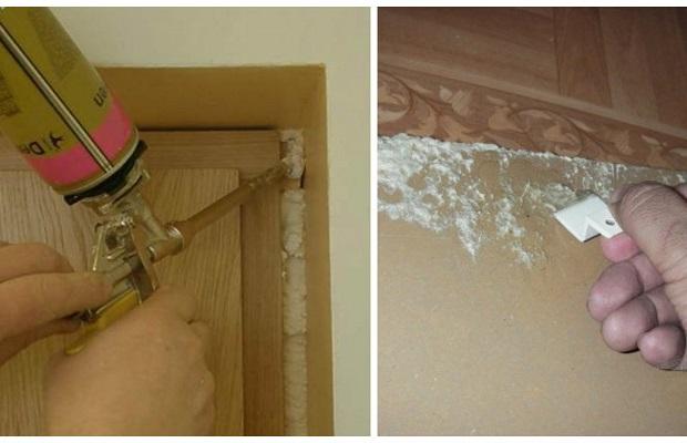 Очистка двери от монтажной пены