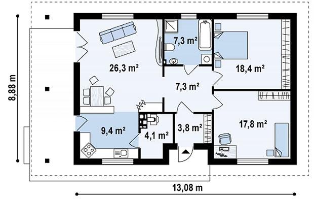 Вариант плана одноэтажного дома на семью из трех человек
