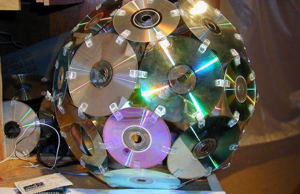 Абажур из старых дисков