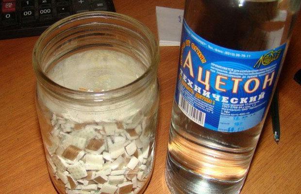 Популярный рецепт клея - на основе ацетона