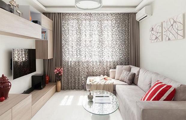 Для дизайна небольшого зала лучше выбрать светлые тона