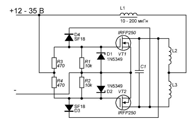 Схема установки на транзисторах