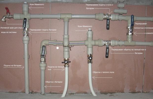 Описание последовательности подключения системы отопления из пропиленовых труб
