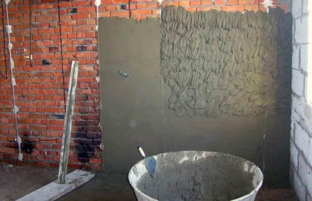 Цементная штукатурка используется в квартирах с черновой и предчистовой отделкой, в технических помещениях и для фасадных работ