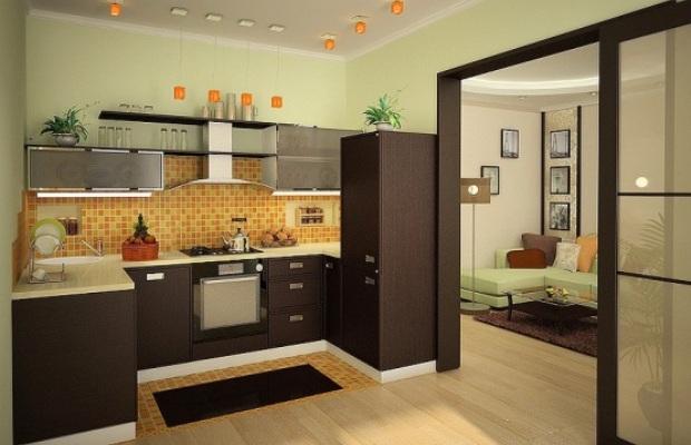 Кухню можно отгородить от остального помещения раздвижными створками