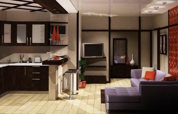 Визуальное расширение пространства является главным плюсом объединения кухни с комнатой