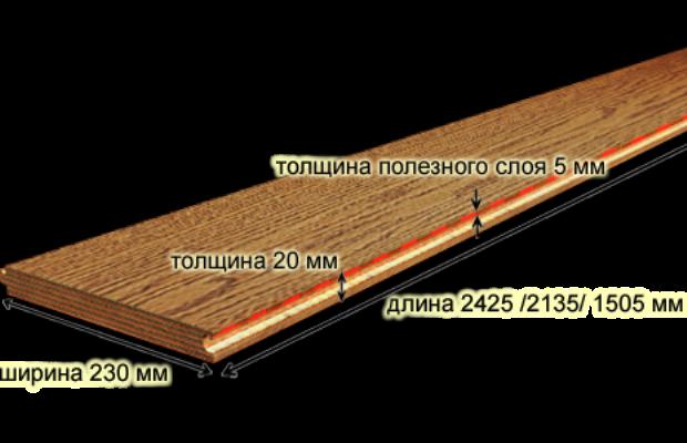 Инженерная доска состоит из двух или трех слоев материалов