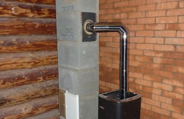 Диаметр трубы для дымоотвода составляет около 15 см