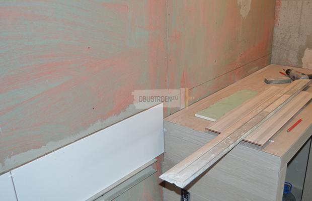Вымеряем плитки над столешницей