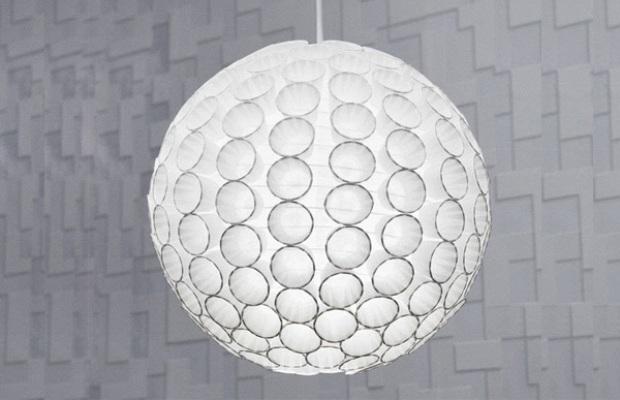 Светильник из стаканчиков можно сделать в форме сферы или полусферы