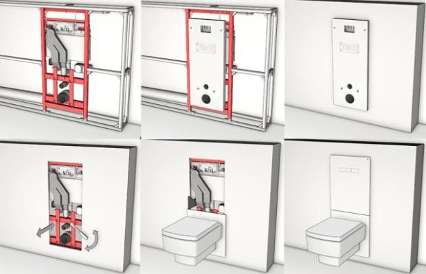 Схема подключения коммуникаций к инсталляции унитаза