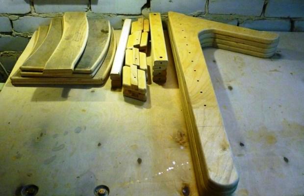 Готовые детали для изготовления деревянного кресла