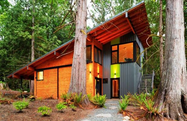 Небольшой дачный домик с крышей односкатного типа