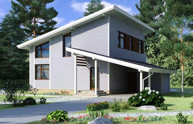Пример двух односкатных крыш одного дома