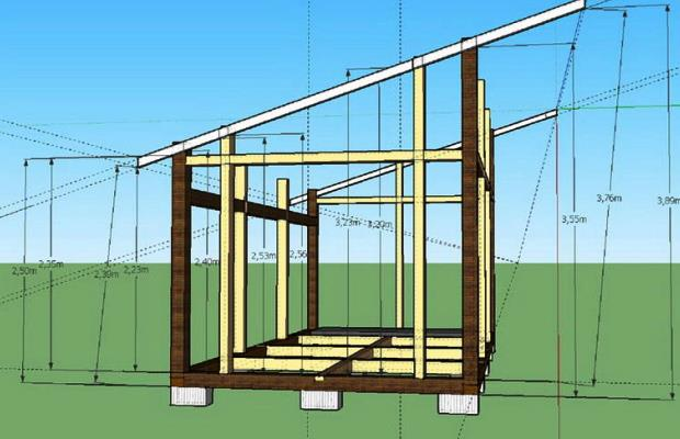 Проект здания с односкатной крышей