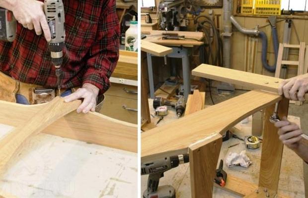 Процесс сборки деревянного кресла
