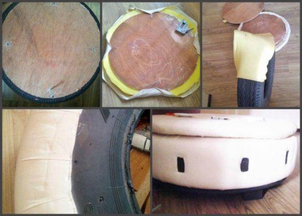 Старая покрышка может пригодиться для изготовления небольшого диванчика