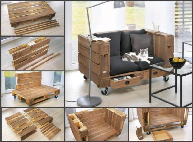 Схема изготовления дивана из поддонов