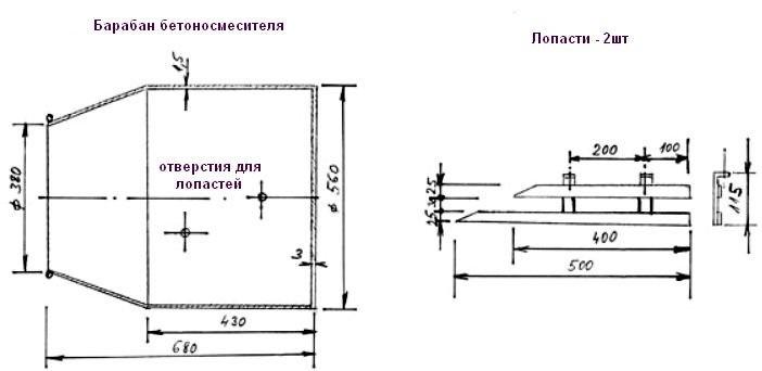 Собираем бетономешалку – инструкции по изготовлению с чертежами