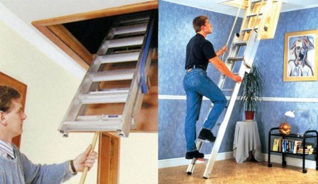 Компактная чердачная лестница подойдет для помещений, где нет места установить стандартную