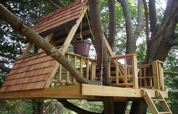 Постройка домика на V-образной кроне дерева