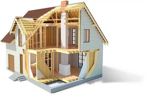 Каркасный дом сделанный из блочных элементов