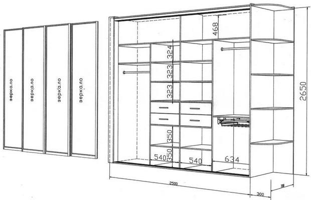Встроенные шкафы схемы и чертежи