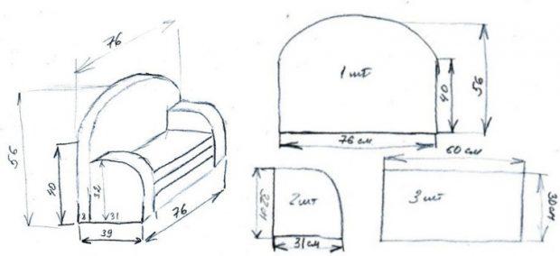 Чертеж изготовления дивана для ребенка