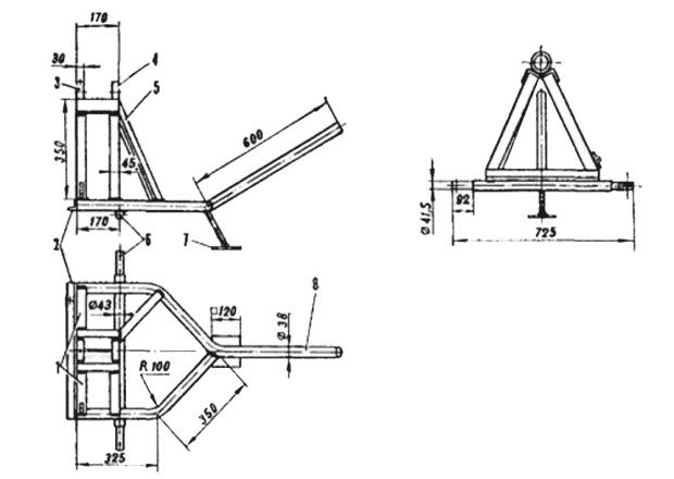 Рама бетономешалки. На рисунке цифрами обозначено: 1 – два передних подкоса; 2 – передний уголок; 3,4 – передний и задний подшипники; 5 – задняя опора; 6 – колесная ось; 7 – опора; 8 – ручка.